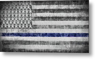 The Thin Blue Line American Flag Metal Print