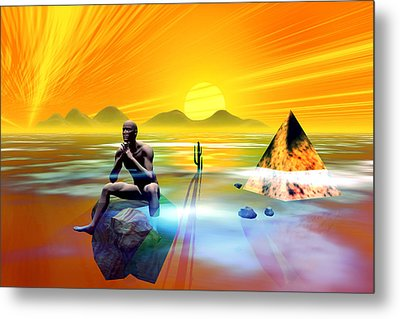 Metal Print featuring the digital art The Thinker by Shadowlea Is