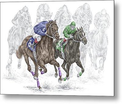 The Thunder Of Hooves - Horse Racing Print Color Metal Print by Kelli Swan