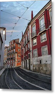The Tram Stop Lisbon Metal Print by Carol Japp