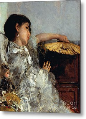 The Two Dolls Or Young Or Oriental Girl With Fan, 1876 Metal Print