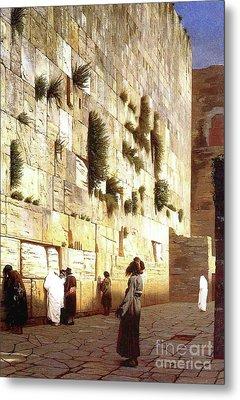 The Wailing Wall, Jerusalem, 1869 Metal Print by Jean Leon Gerome