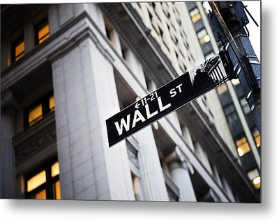 The Wall Street Street Sign Metal Print by Justin Guariglia