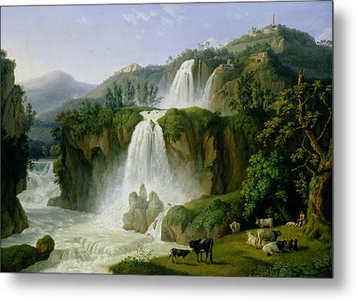 The Waterfall At Tivoli Metal Print by Jacob Philippe Hackert