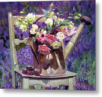 The Watering Can Bouquet Metal Print by David Lloyd Glover
