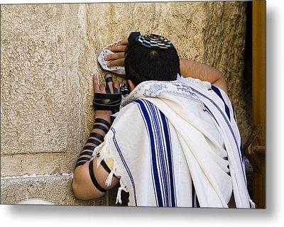 The Western Wall, Jewish Man Wearing Metal Print by Richard Nowitz