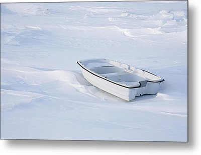The White Fishing Boat Metal Print