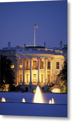 The White House South Portico At Dusk Metal Print by Richard Nowitz