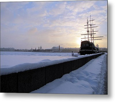Metal Print featuring the pyrography The Winter Ship by Yury Bashkin