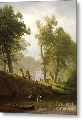 The Wolf River - Kansas Metal Print by Albert Bierstadt