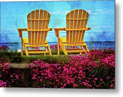 The Yellow Chairs By The Sea Metal Print by Thom Zehrfeld