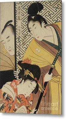 The Young Samurai, Rikiya, With Konami And Honzo Partly Hidden Behind The Door Metal Print