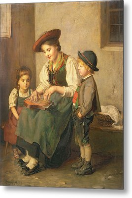 The Zither Player Metal Print by Franz von Defregger