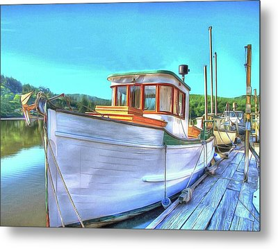 Thee Old Dragger Boat Metal Print by Thom Zehrfeld