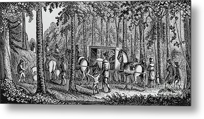 Thomas Hooker And His Congregation Traveling Through The Wilderness Metal Print by American School