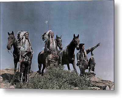 Three American Indians On The Crow Metal Print by Edwin L. Wisherd