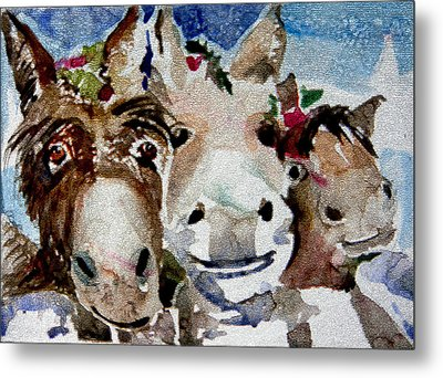 Three Christmas Donkeys Metal Print by Mindy Newman