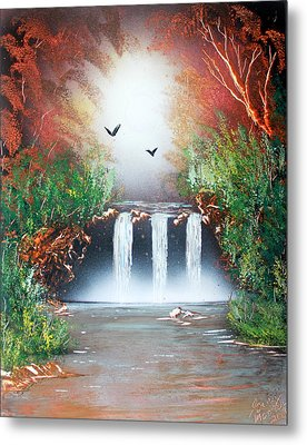 Metal Print featuring the painting Three Falls by Greg Moores