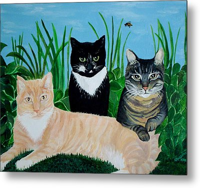 Metal Print featuring the painting Three Furry Friends by Elizabeth Robinette Tyndall