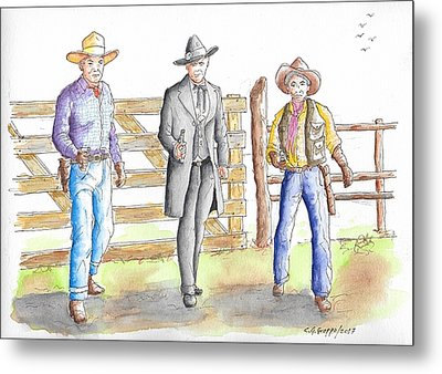 Three Heroes From The West Metal Print