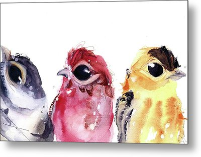 Metal Print featuring the painting Three Little Birds by Dawn Derman