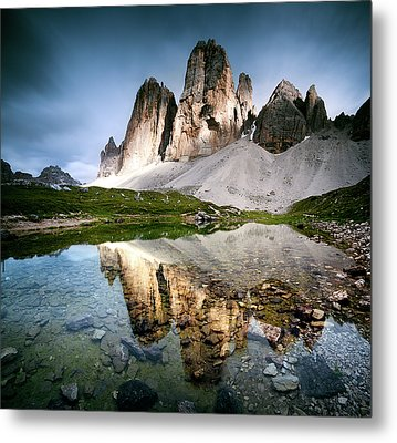 Three Peaks Reflection In Lake Metal Print by Matteo Colombo