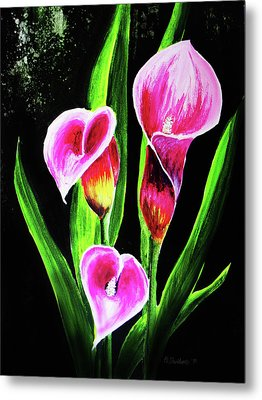 Metal Print featuring the painting Three Pink Calla Lilies. by Patricia L Davidson