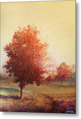 Three Red Trees Metal Print