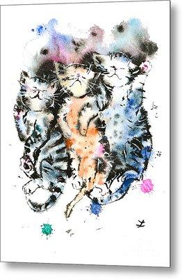 Three Sleeping Kittens Metal Print by Zaira Dzhaubaeva