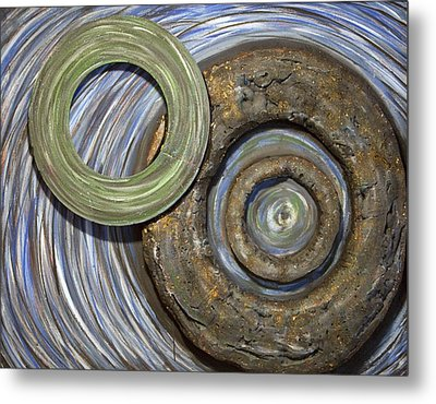Metal Print featuring the painting Threes A Crowd by Jacqueline Athmann