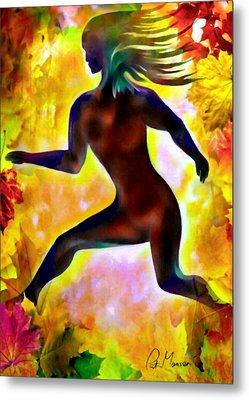 Through Autumn Leaves Metal Print