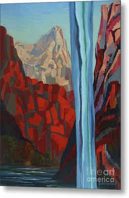 Metal Print featuring the painting Through The Narrows, Zion by Erin Fickert-Rowland