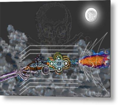 Metal Print featuring the digital art Thunder Gun Of The Dead by Iowan Stone-Flowers