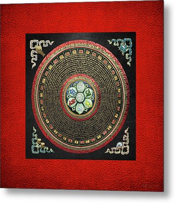 Tibetan Om Mantra Mandala In Gold On Black And Red Metal Print by Serge Averbukh