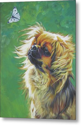 Tibetan Spaniel And Cabbage White Butterfly Metal Print by Lee Ann Shepard