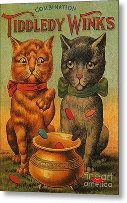 Tiddledy Winks Funny Victorian Cats Metal Print