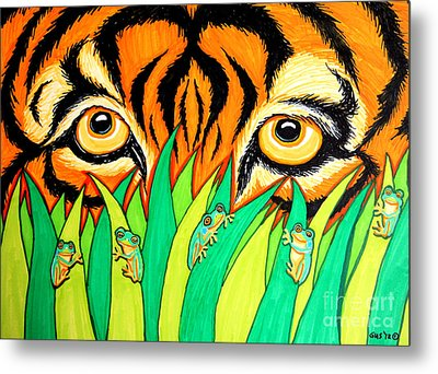 Tiger And Frogs Metal Print