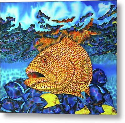 Tiger Grouper And Tang Fish Metal Print by Daniel Jean-Baptiste