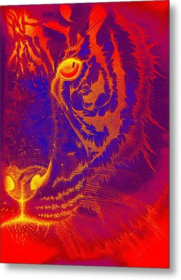 Tiger On Fire Metal Print by Mayhem Mediums