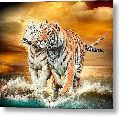 Metal Print featuring the mixed media Tiger Run by Carol Cavalaris