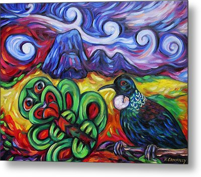 Tiki And Tui Under Mount Taratara Metal Print
