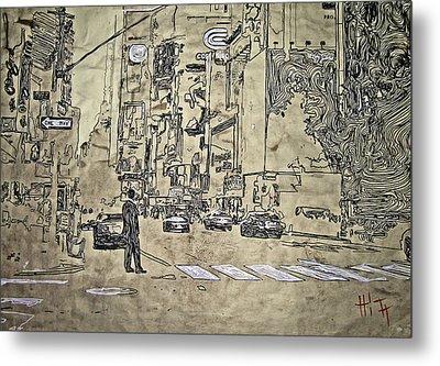 Times Square - That Man Metal Print by Jacob  Hitt