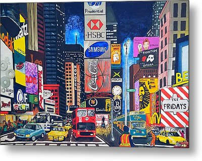 Times Square Metal Print by Autumn Leaves Art