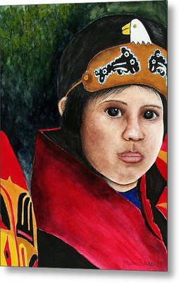 Tinglit Native Girl Metal Print by Mary Gaines