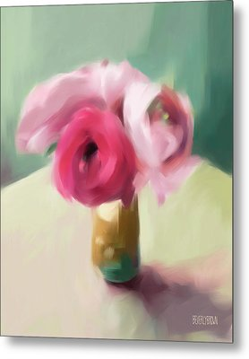 Tiny Pink Ranunculus Floral Art Metal Print by Beverly Brown