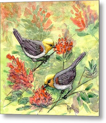 Metal Print featuring the painting Tiny Verdin In Honeysuckle by Marilyn Smith