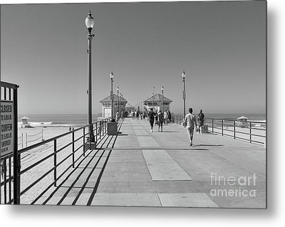 Metal Print featuring the photograph To The Sea On Huntington Beach Pier by Ana V Ramirez