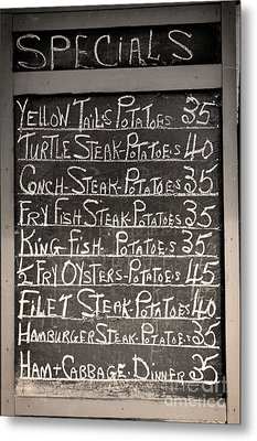 Today's Specials Menu Metal Print by Mindy Sommers