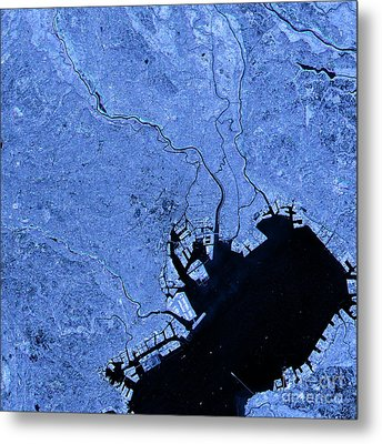 Tokyo Abstract City Map Satellite Image Blue Metal Print by Frank Ramspott