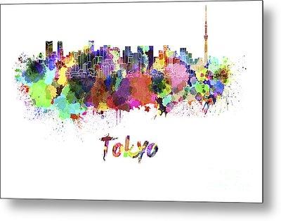 Tokyo V2 Skyline In Watercolor Metal Print by Pablo Romero